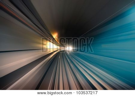 Subway Tunnel With Blurred Light Tracks In The Gallery - Concept Of Modern Metro Underground