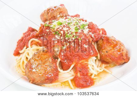 Beef And Lamb Meatball Pasta