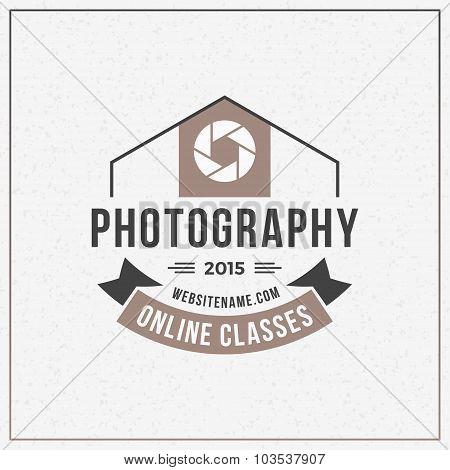 Photography Logo Design Template. Retro Vector Badge. Online Classes