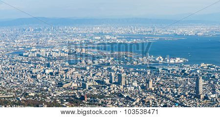 Kobe Cityscape,aerial View From Mt. Maya