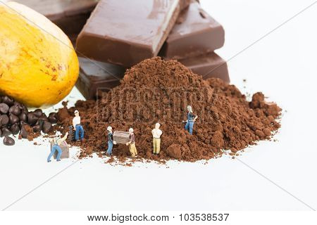 Miniature Workers And Cocoa