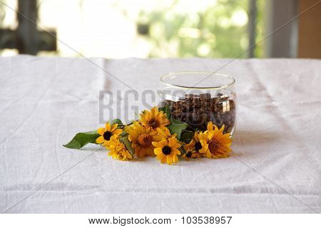 Coffee Grains In Transparent ?????? A Bunch Of Flowers