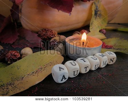 Small cubes and candle autumn leaves on a dark surface