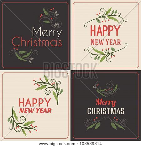 Set Of Christmas Postcard Decorative Greetings With Mistletoe Branch, Berries And Typographic Design