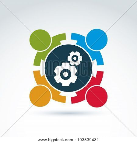 Vector Illustration Of Gears - Enterprise System Theme, International Business Strategy Concept. Cog