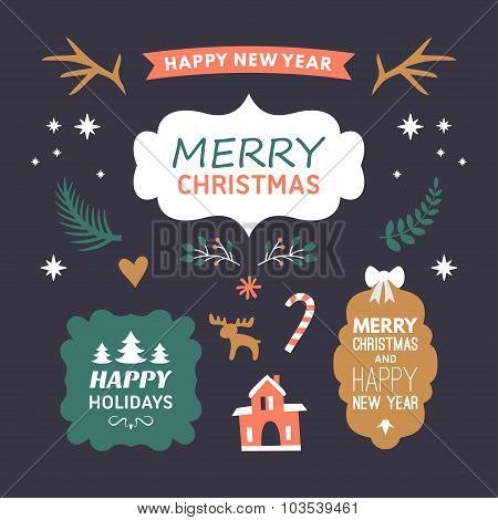 Set Of Christmas And New Year Cute Hand Drawn Vector Decorative Design Elements With Cartoon Charact