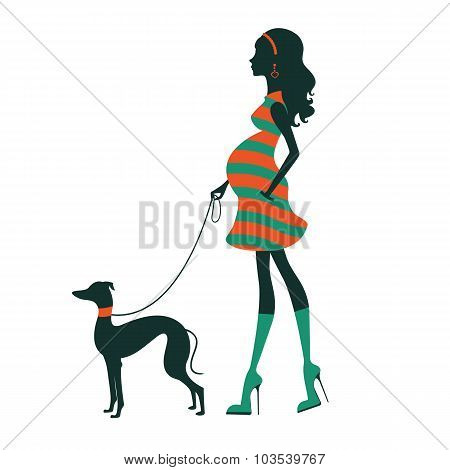 Beautiful woman silhouette with greyhound