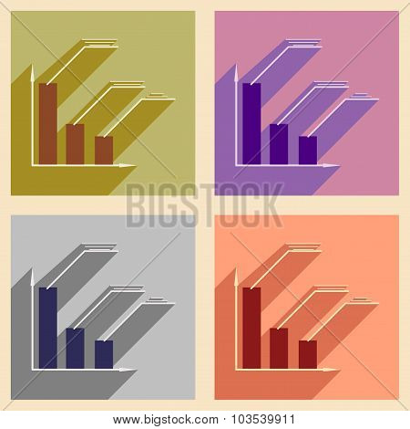 Flat with shadow icon concept Stylish economic schedule