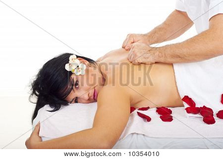 Pretty Woman Receive Deep Back Massage