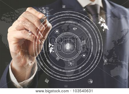 Businessman hand pushing business graph.  Futuristic button