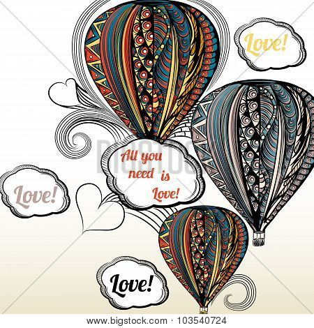 All You Need Is Love. Air Balloon With Hippie Style Ornament In Ethnic Colors
