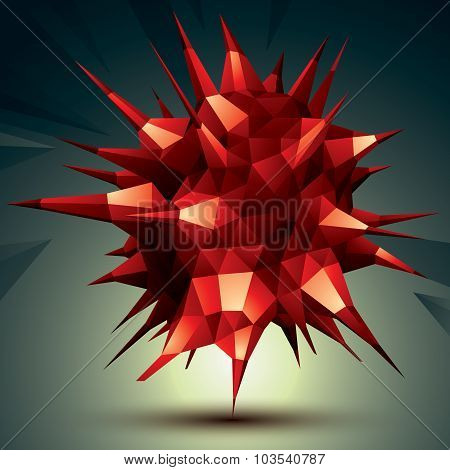 Complicated Abstract Red 3D Shape, Vector Digital Object. Technology Theme.