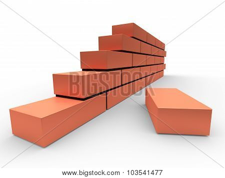 Part Of Brick Wall. Concept Of Building And Construction