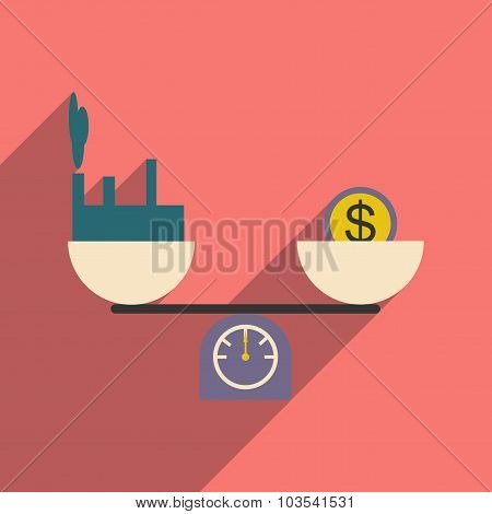 Modern flat icon with shadow House and money on scales