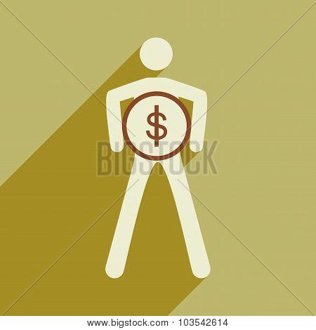 Flat design modern vector illustration icon Stick Figure coin