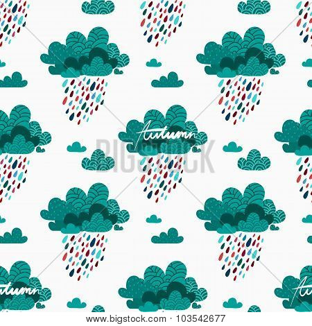 Autumn Seamless Pattern With Rainy Clouds