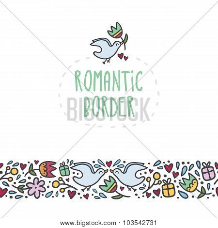 Romantic Border With Doodle Flowers, Hearts, Gifts And Birds