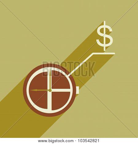 Flat design modern vector illustration icon Watch chart Money