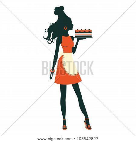 Beautiful baker holding freshly baked cake