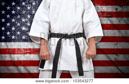 Boy In Kimono And American  Flag
