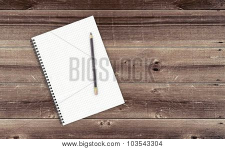 Notepad On Wooden Table.