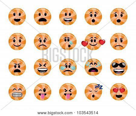 Set Of Orange Lollipop Icons