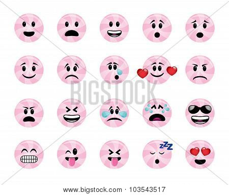Set Of Pink Lollipop Icons