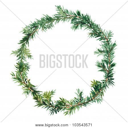 Spruce wreath - fir tree. Watercolor