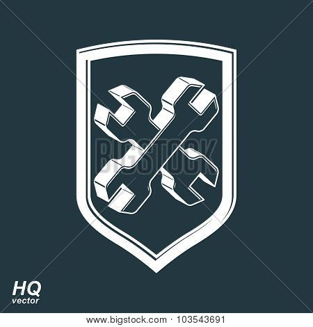 Repair 3D Conceptual Vector Icon, Heraldic Workshop And Technical Service Symbol. Two Wrenches