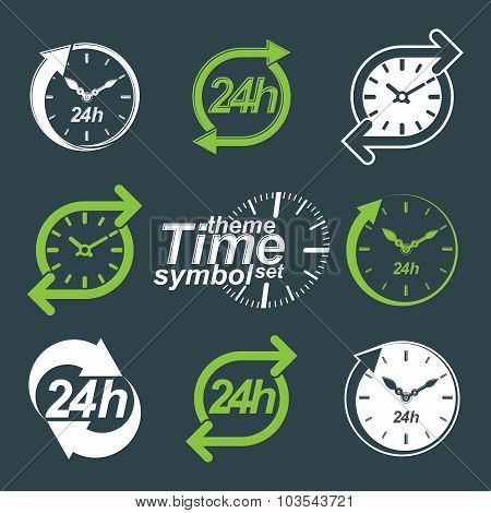 Set Of Graphic Web Vector 24 Hours Timers, Around-the-clock Flat Invert Pictograms. Day-and-night