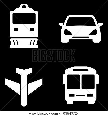 four white transport icons