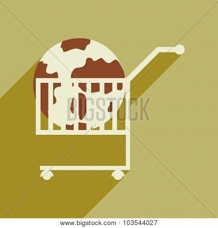Flat design modern vector illustration icon globe in trolley