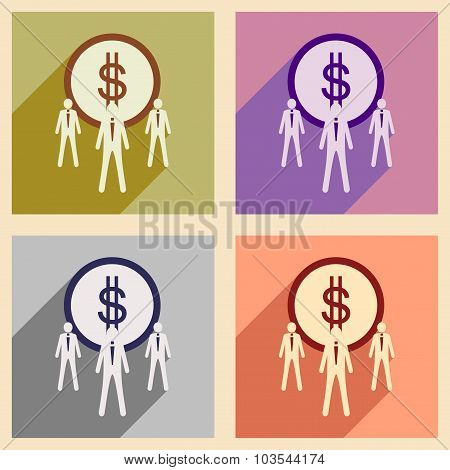 Modern flat icons vector collection with shadow Dollar and employees