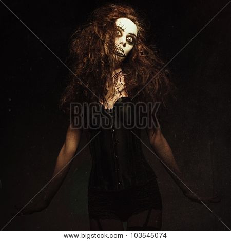 Young Woman In The Image Of Sad Gothic Freak Clown. Grunge Texture Effect