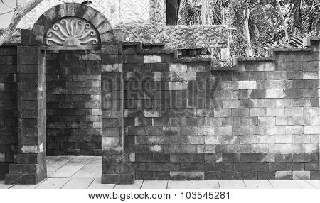 Brick Door And Wall On Black And White