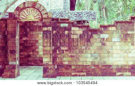Brick Door And Wall, Vintage Toning