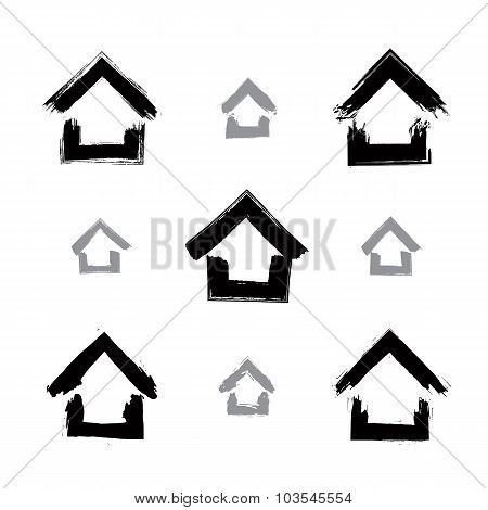 Set Of Hand-drawn Monochrome Home Icons, Collection Of Black And White Estate symbols, Cottages