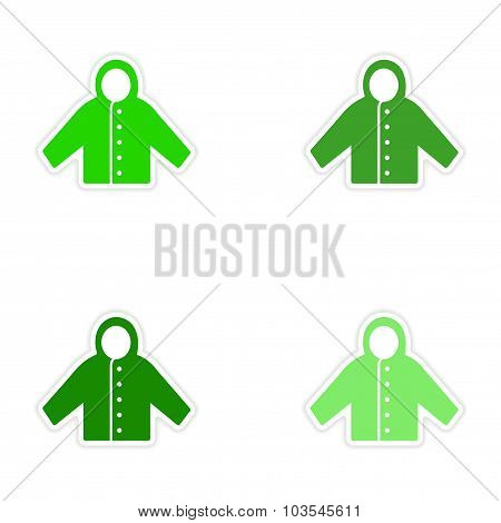 assembly realistic sticker design on paper raincoat