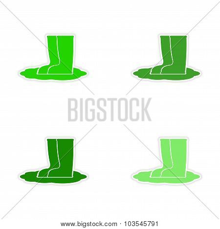 assembly realistic sticker design on paper rubber boots