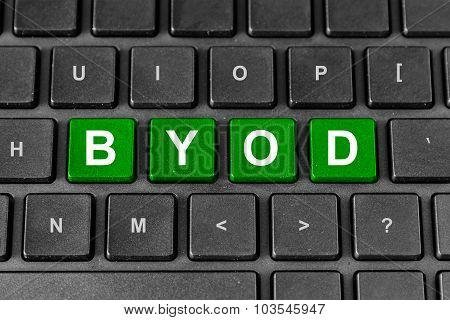 Byod Or Bring Your Own Device Word On Keyboard