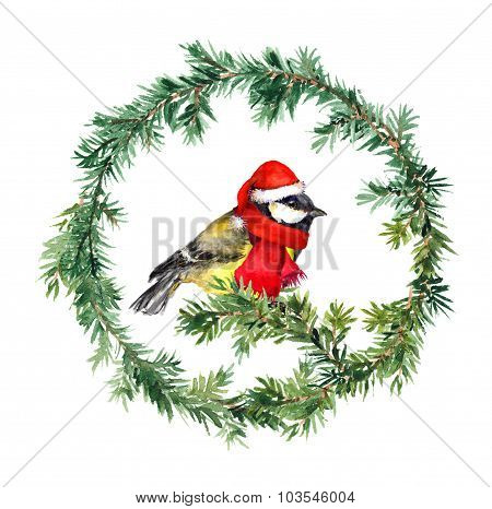 New year wreath - fir and tit bird in santa hat. Watercolor
