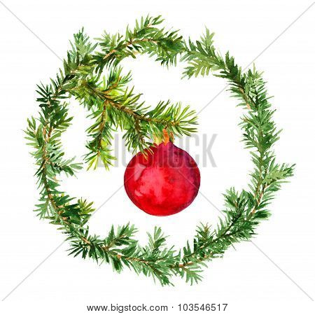 Red bauble in christmas wreath with fir tree branches. Watercolor