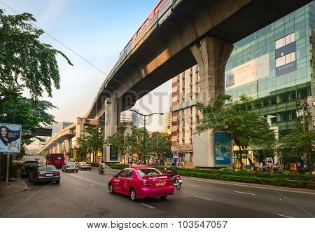 Bangkok Street And Sky Train Overpass