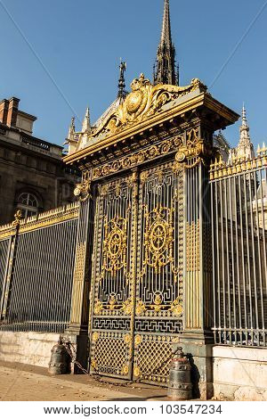 The Golden Gate At The Justice Palace In Paris, France.