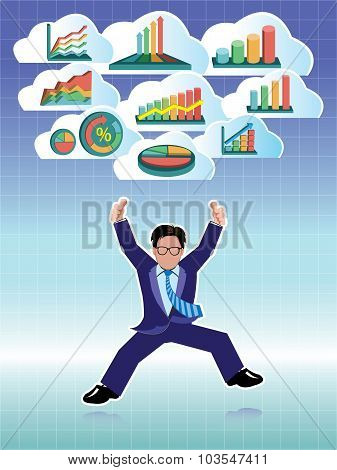 Businessman jumping with business graphs cloud set