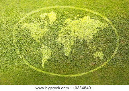 Earth Sign On Green Grass Poster Illustration Of Eco-friendly