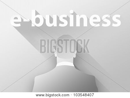 E-business With Businessman 3D Illustration Flat Design