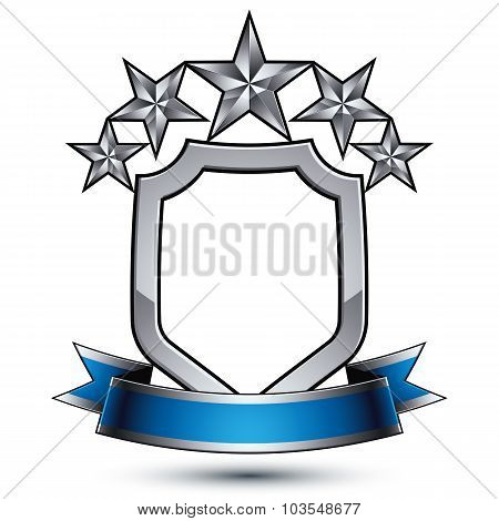 Five Vector Pentagonal Silver Stars With Wavy Ribbon Placed On Protection Shield, 3D design element