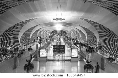 BANGKOK, THAILAND - NOV 11: Suvarnabhumi Airport interior on November 11, 2014. Suvarnabhumi Airport is one of two international airports serving Bangkok
