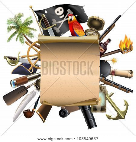 Vector Old Scroll With Pirate Accessories
